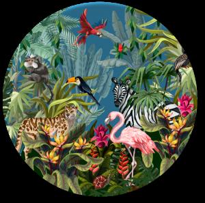 Muurcirkel Jungle Flamingo