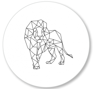 Muurcirkel Leeuw geometrisch.